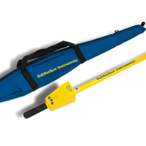 SubSurface Instruments, ML-1 (Magnetic Locator) Product - Blue Soft Carrying Case next to Yellow Product, Made in the USA