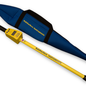 SubSurface Instruments, ML-1M (Magnetic Locator) Product - Blue Soft Unit Carrying Case next to Product, Made in the USA